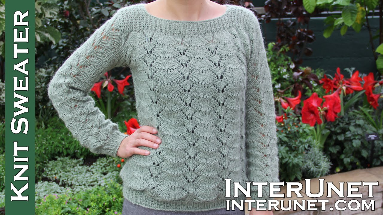 ef2f3db468144 Long-sleeve lace sweater knitting pattern - YouTube