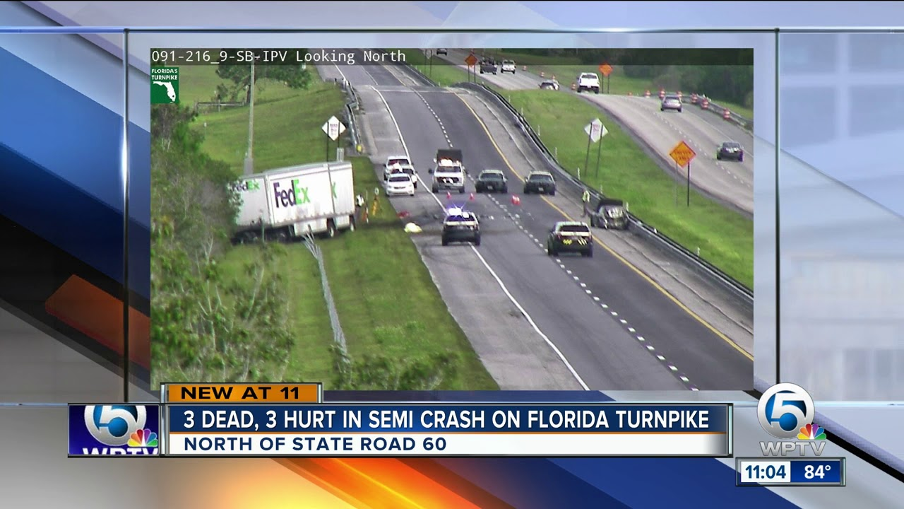 3 killed in Turnpike crash south of Orlando