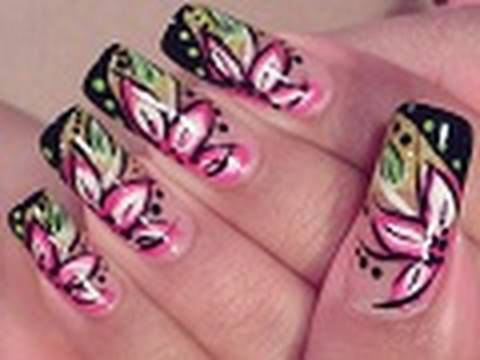 Bright Flower Nail Art Design Tutorial