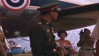 Stock Footage   Arrival of King Bhumibol and Queen Tirikit at Udorn Royal Thai Air Force Base  part1