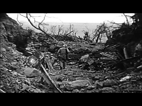 United States Marines examine wrecked Japanese fortifications. Exhausted marines ...HD Stock Footage