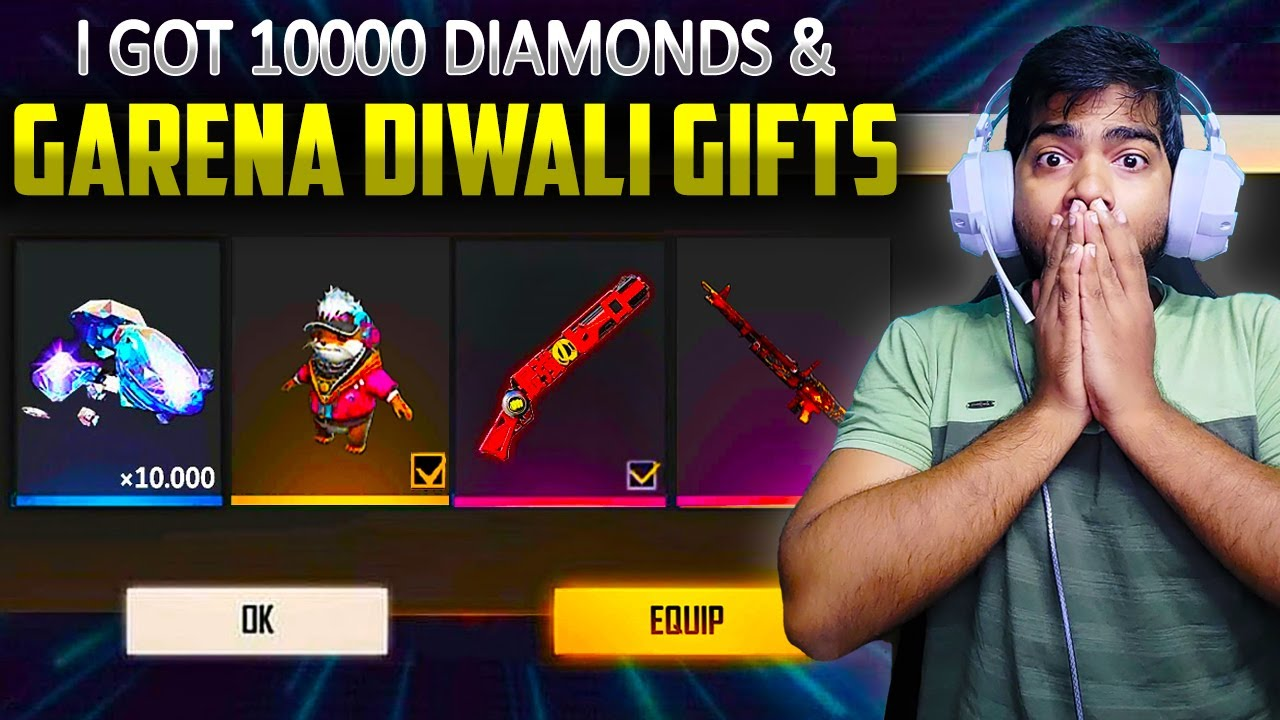 💥I Got 10,000💎 & Diwali Gifts From Garena| 🔥Got Legendary Gun Skins and All Pets For Free