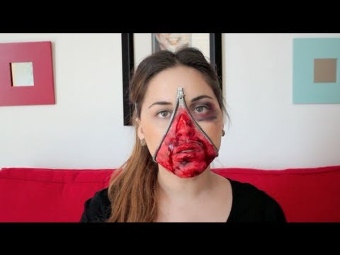 Maquillaje cara de zipper maquillaje facil para halloween for Pinturas de cara para halloween