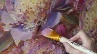 """""""Цветочное"""" Живопись маслом. Process of creating oil painting. 油畫"""