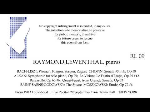 RAYMOND LEWENTHAL Live Recital 1964  CHOPIN ALKAN more  TOWN HALL  NEW YORK
