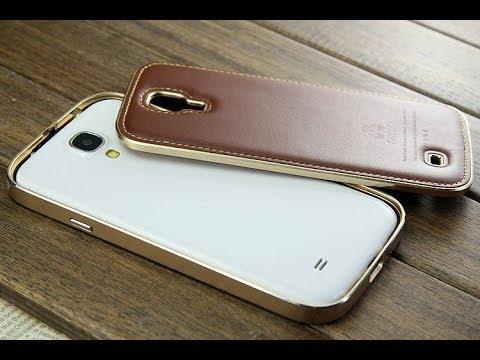 finest selection 332ec b20d2 Samsung Galaxy S4 Leather Metal bumper Case