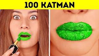 100 KATMAN MEYDAN OKUMASI 100 Kat Makyaj, Oje, Ruj 123 GO CHALLENGE Her Şeyden 100 Kat