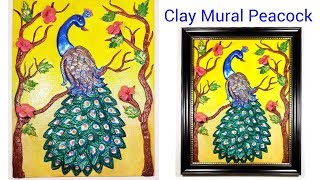 Clay mural Peacock on Canvas