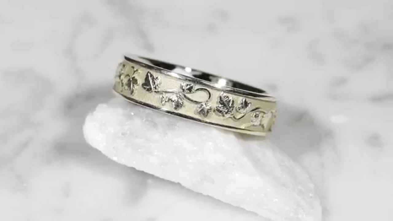 vine band in bands leaf design wedding media organic eternity intricate ring gold