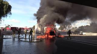 National City: Amazing Video I-805 Semi-Truck Fire 01102017
