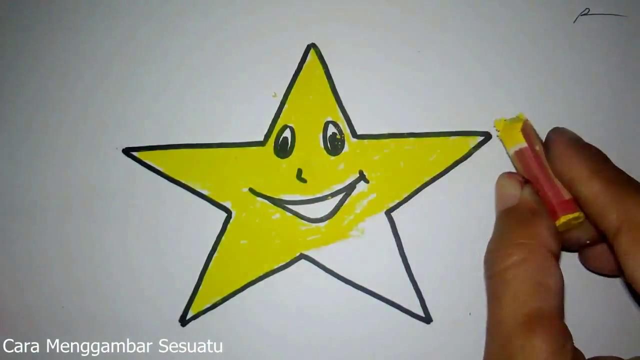Cara Menggambar Bintang Lucu Untuk Anak Paud Youtube