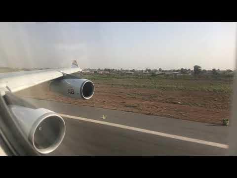 A340-3 Air Belgium take-off Banjul, The Gambia