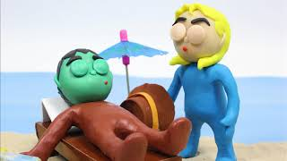 Sunbathes beach Stop motion cartoons for kids