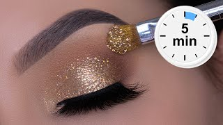 5 MINUTE EASY Sparkly Golden Eye Makeup | Holiday Glitter Eyes