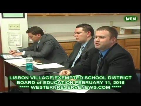 Lisbon Ohio Schools Board of Education Meeting February 11, 2016