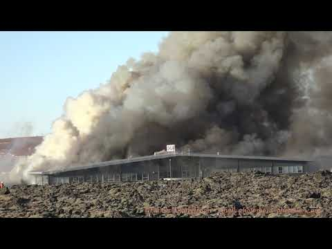 Massive fire in Gardabaer, Iceland today, affecting  Icewear,  Marel and Geymslur