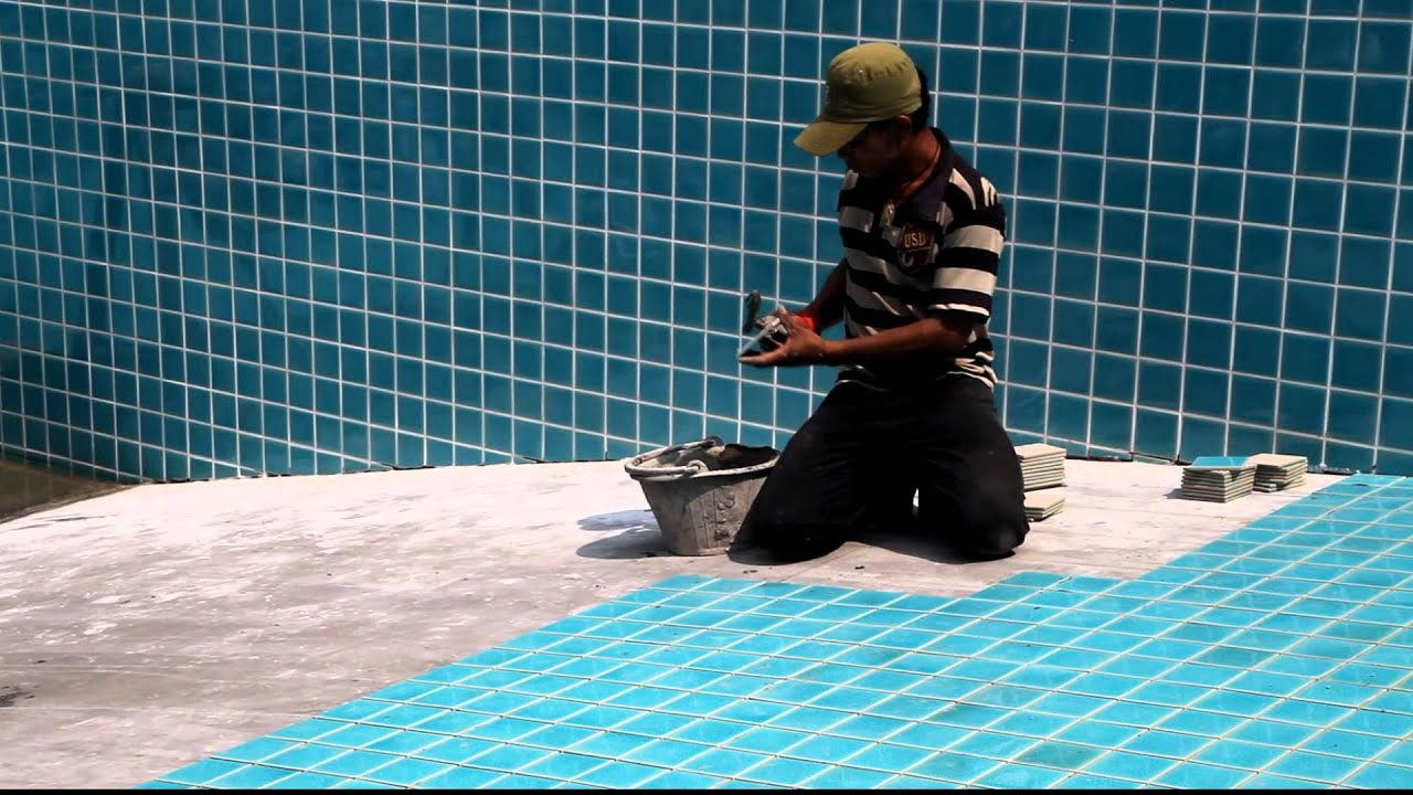 How To Lay Swimming Pool Tiles Thethreetouch Asia Pacific Co Ltd Youtube