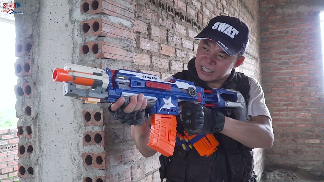 MASK Nerf War : Special Police SWAT Alpha Nerf Guns Fight CRIME CITY Group Masks