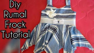 Rumal Cut frock | baby frock cutting and stitching | hanky cut frock | lawn summer frock drafting