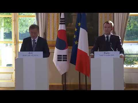 Emmanuel Macron Press Conference with Mr. Moon Jae-in Munjaein, President of the Republic of Korea.