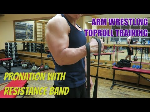Arm Wrestling Toproll training exercise (Pronation with resistance band)
