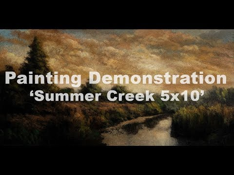 Summer Creek 5×10 Tonalist Landscape Painting Demonstration