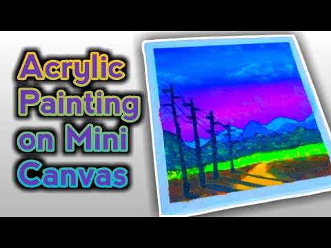 ACRYLIC PAINTING ON MINI CANVAS – Landscape Painting on Mini Canvas | Mini Canvas Painting #01
