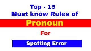 Pronoun , Top 15 Must Know Rules For Spotting Errors | Bank PO | CLerk | IPPB PO [In Hindi]
