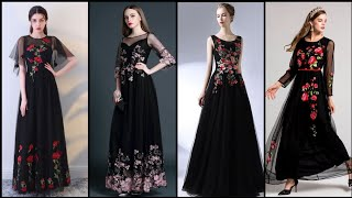 Fabulous And Elegant Vintage Embroidery Black Net Dresses /Evening Gown /Prom Dress Design 2020