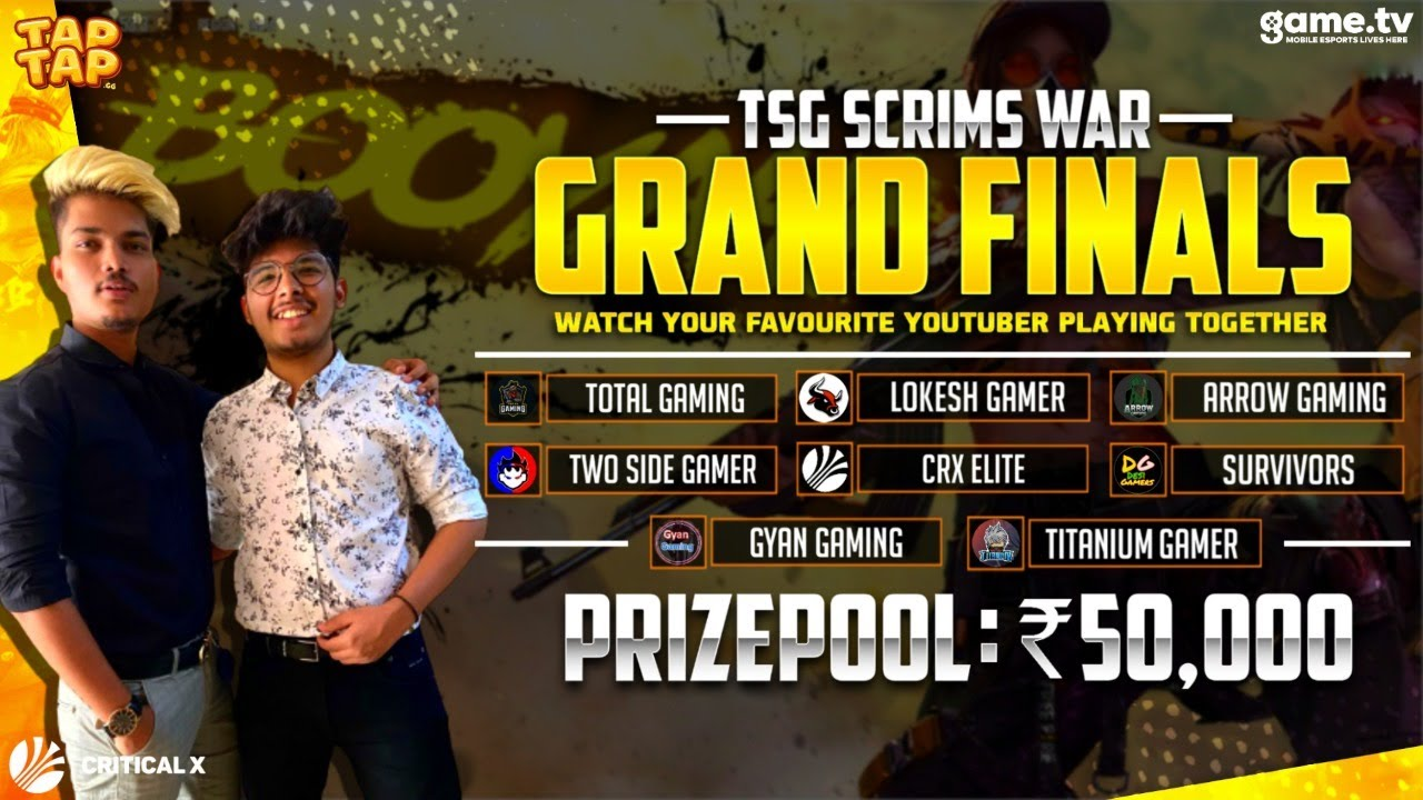FREE FIRE INDIA THE GRAND FINALE OF TSG SCRIMS WAR 50000 PRIZE POOL - POWERED BY GAME.TV