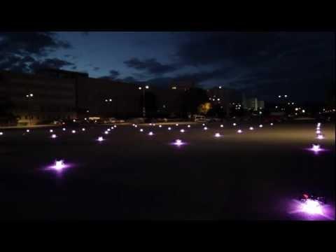 49 quadrocopter in outdoor-formation-flight / Ars Electronica Futurelab / Linz, Austria