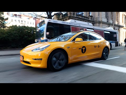 RIDING IN THE FIRST NYC YELLOW TESLA TAXICAB!