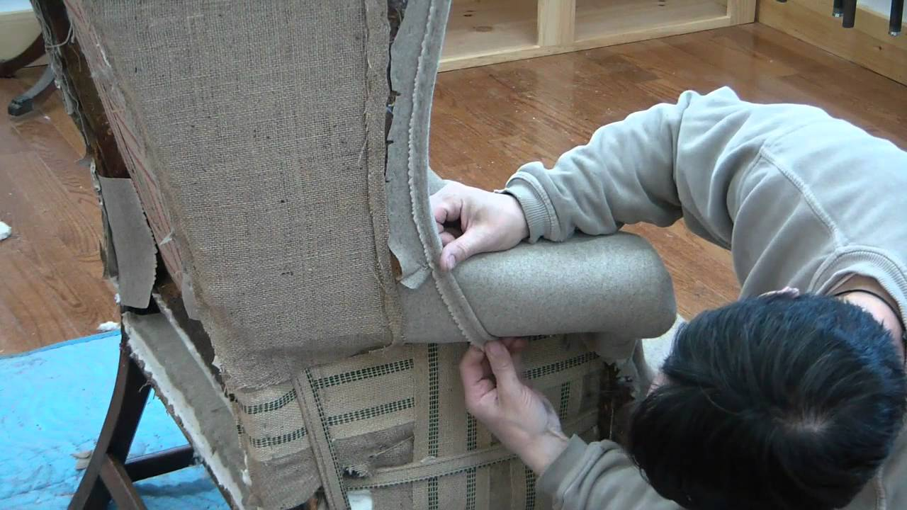 How To Reupholster A Wing Chair Pt 19   YouTube