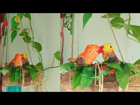 DIY love bird nest craft/How to make love bird nest craft/Hanging love bird nest craft