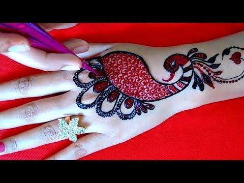Most Attractive Red & Black Peacock Mehndi Design | Cone Making | 2018