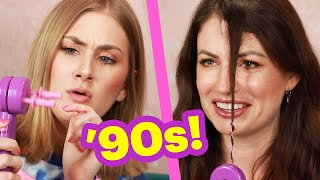 Women Try A 90s Hair Braiding Machine