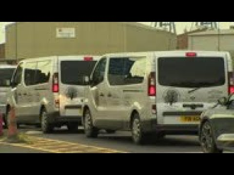 Funeral home vehicles arrive at UK's Tilbury port