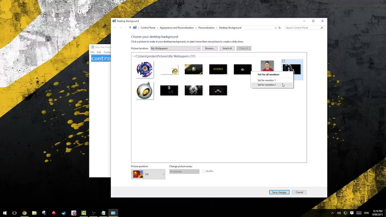 Different background on each Monitor using Windows 10 (How To) - YouTube