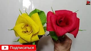 РАЗНОЦВЕТНЫЕ РОЗЫ ИЗ ГОФРИРОВАННОЙ БУМАГИ❤Розы из конфет❤Поделки Цветы из бумаги своими руками❤ DIY