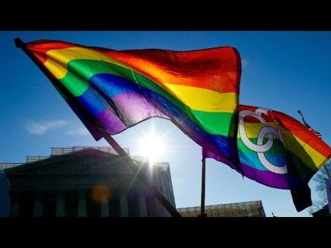 Rainbow flags in front of supreme court