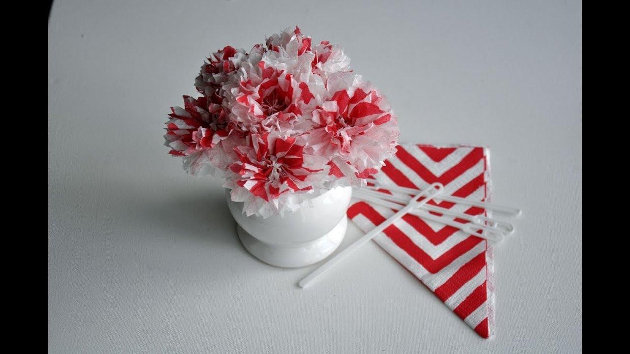 Kwiaty Z Serwetki Bez Drutu Kleju Nitek Diy Youtube