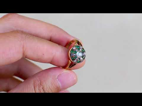 Victorian 15k Gold Diamond & Green Garnet Cluster Ring