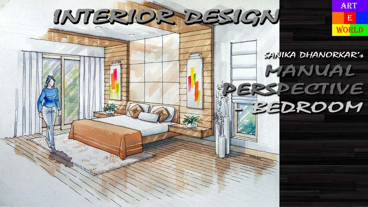 interior designing of bedroom 2. 14  Manual Rendering 2 point Interior Perspective Drawing Tutorial Watercolour YouTube