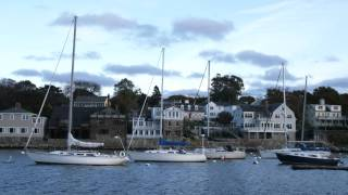 Boats moored in Rockport Harbor in Massachusetts.