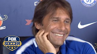Antonio Conte laughs uncontrollably about Diego Costa
