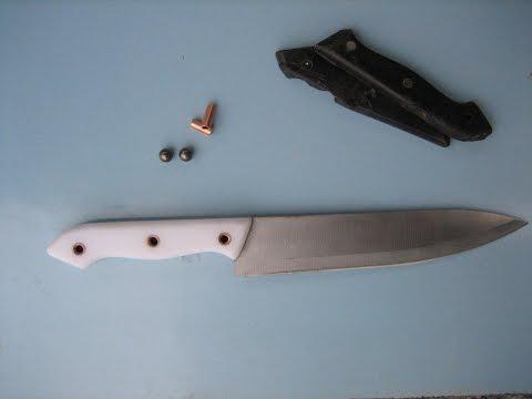 Как сделать ручку для ножа на люверс заклепках.