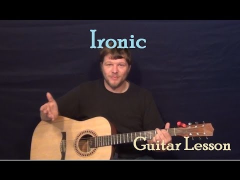 Ironic (Alanis Morissette) Easy Guitar Lesson Strum Chord How to Play Tutorial Capo 4th