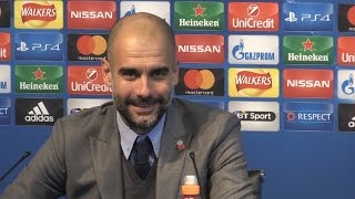 Manchester City 3-1 Barcelona - Pep Guardiola Full Post Match Press Conference - Champions League(Post match press conference with Manchester City manager Pep Guardiola following their 3-1 win against his old club Barcelona in the Champions League., 2016-11-01T23:34:02.000Z)
