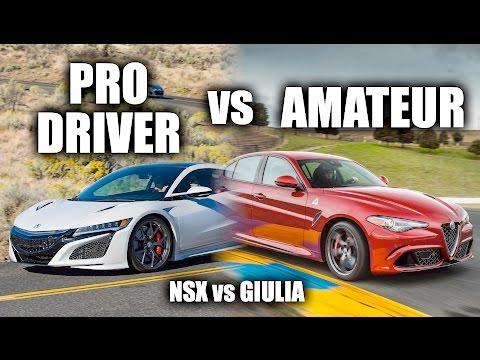 Pro Driver vs Amateur   Acura NSX vs Alfa Romeo Giulia Quadrifoglio