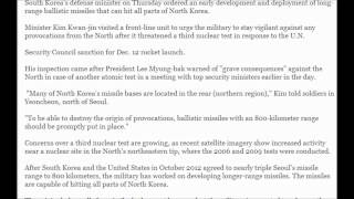 (south korea) defense chief calls for early deployment of 800-km missiles 2/1/2013